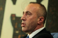 FILE PHOTO: Kosovo's Prime Minister <HIT>Haradinaj</HIT> talks during an interview withe Reuters in Pristina
