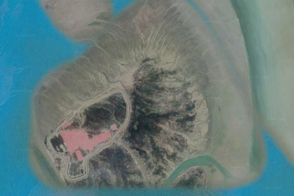 Imagen aérea de la isla de Bhashan Char, en Bangladés.