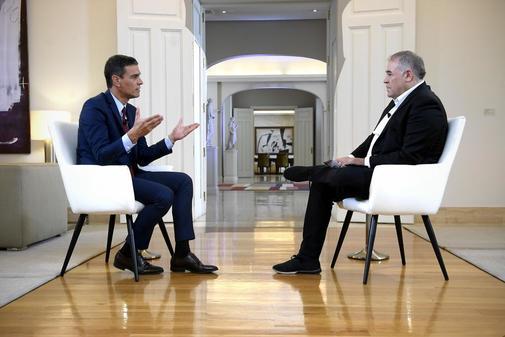 Pedro Sánchez, durante su entrevista con Antonio García Ferreras