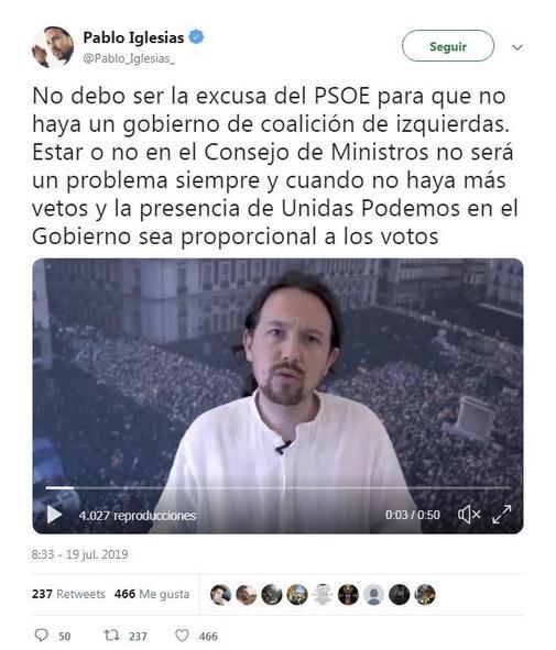 Pablo Iglesias ve el órdago