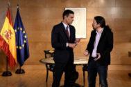 Pedro Sánchez y Pablo Iglesias, en su último encuentro en el Congreso