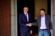 Pedro Sánchez y Pablo Iglesias, durante una reunión entre ambos en La Moncloa.