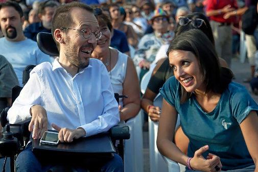 Pablo Echenique e Irene Montero, en un acto de Podemos en 2016