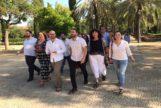 Los dirigentes de Podemos, IU; Izquierda Andalucista y Primavera Andaluza, este viernes en Sevilla.
