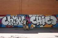 El mural vandalizado del centro de Arganzuela.