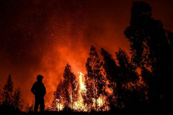 Un bombero observa las llamas en el incendio de Amendoa (Portugal).