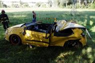 Estado en el que ha quedado el vehículo tras salirse de la calzada.