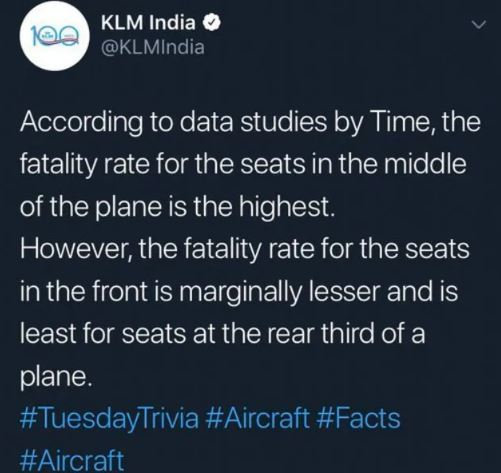 KLM pide disculpas tras tuitear un artículo sobre los asientos en los que es más probable no sobrevivir