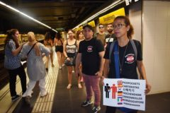 La patrulla en el metro de Barcelona.