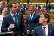 Pablo Casado y Albert Rivera, en el Congreso de los Diputados
