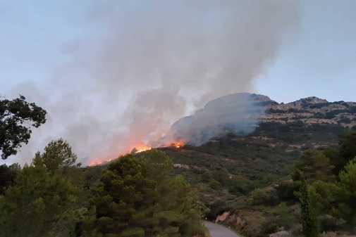 Incendio forestal en Rosell, este domingo.