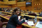 La senadora de Podemos Andalucía, Esperanza Gómez, en su escaño en la Cámara Alta.