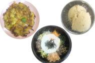 Jemulyon (tortilla de mariscos y verduras), Dolsot Bibimbab (cuenco de carne, verdura y huevo) y Helado de turrón