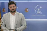Gabriel Rufián comparece ante los medios en el Congreso