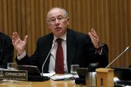 Rodrigo Rato, en la Comisión de Investigación sobre la crisis financiera de España, en el Congreso.