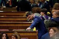Gabriel Rufián, a su llegada al Congreso de los Diputados
