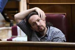 Pablo Iglesias, en su escaño del Congreso de los Diputados