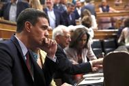 Pedro Sánchez, en la bancada socialista en el Congreso