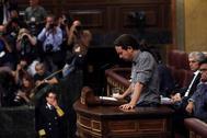 Pablo Iglesias, en su intervención en el Congreso