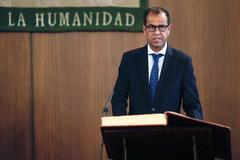 El nuevo director general de la RTVA, Juande Mellado, en su toma de posesión.