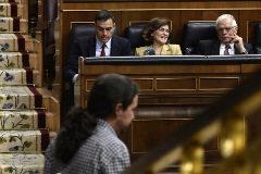 Pablo Iglesias, ante Pedro Sánchez y otros miembros del Gobierno en funciones durante la sesión de investidura.
