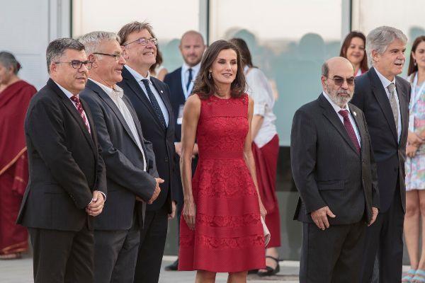 La reina Letizia, ayer junto al alcalde, Joan Ribó, el presidente de la Generalitat, Ximo Puig, y el secretario general de la FAO, Graziano da Silva.