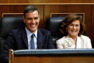 El presidente del Gobierno, Pedro Sánchez, y la vicepresidenta del Ejecutivo, Carmen Calvo.