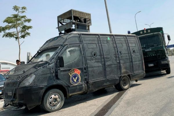 Security forces guard Cairo International Airport in Cairo