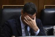 Pedro Sánchez durante la fallida votación de investidura.
