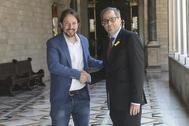 El president Quim Torra se reúne con Pablo Iglesias en el Palau de Generalitat en junio de 2018.