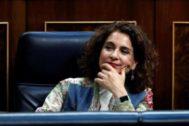 La ministra de Hacienda en funciones, María Jesús Montero, en el Congreso de los Diputados