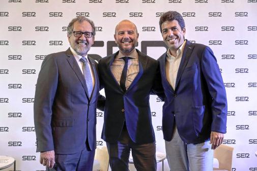 Los presidentes de las diputaciones de Castellón, Valencia y Alicante (José Martí, Toni Gaspar y Carlos Mazón) en el debate de la 'Ser'.