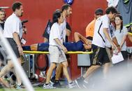 Landover (United States).- Real Madrid midfielder Marco <HIT>Asensio</HIT> is carried from the pitch after an injury against the Arsenal during the second half of the International Champions Cup (ICC) soccer match between Real Madrid and Arsenal at FedEx Field in Landover, Maryland, USA, 23 July 2019. (Estados Unidos) EPA/