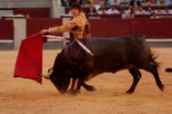 Pase de pecho mirando al tendido de Roca Rey con un toro de Adolfo en la pasada Feria de San Isidro.