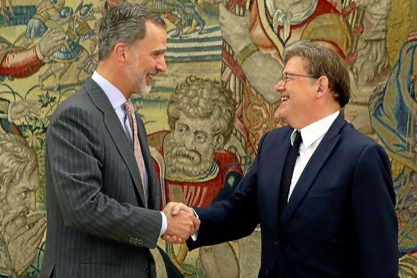 El Rey Felipe VI recibe ayer al presidente de la Generalitat, Ximo Puig.