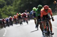 Belgium's Serge Pauwels (R) and Slovakia's Peter Sagan, wearing the best sprinter's green jersey lead the race during the eighteenth stage of the 106th edition of the <HIT>Tour</HIT> de France cycling race between Embrun and Valloire, in Valloire, on July 25, 2019. (Photo by JEFF PACHOUD / AFP)