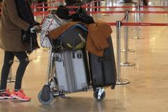Un viajero empuja un carrito con el equipaje.