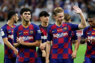 Frenkie De Jong y Aleñá, durante el amistoso del Barça contra el Chelsea.