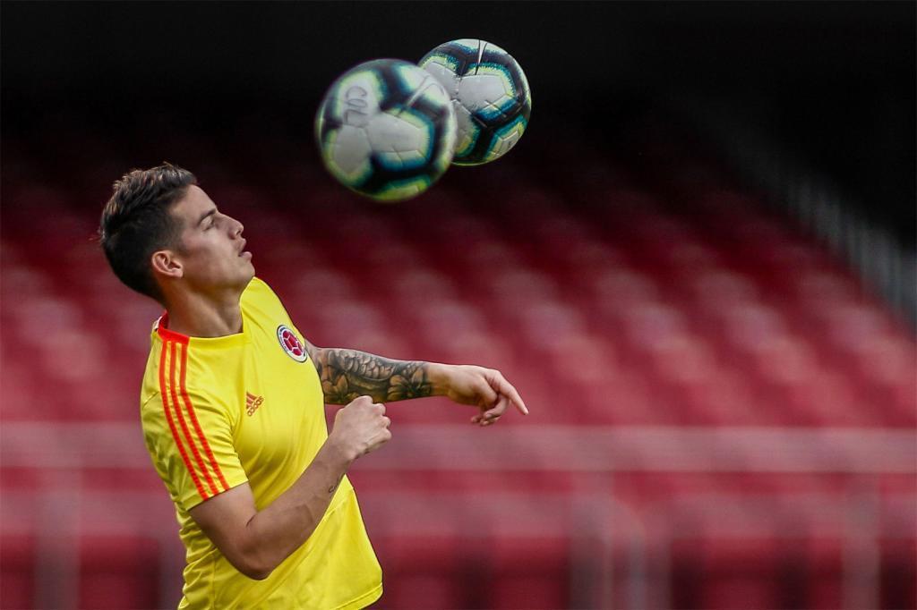 James Rodríguez, durante un entrenamiento en la Copa América.