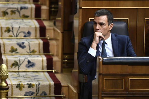 Pedro Sánchez, en su escaño del Congreso