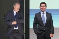 El instructor del 'caso Villarejo', Manuel García Castellón (iqda.), y el presidente de BBVA, Carlos Torres.