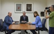 Andoni Ortuzar, Iñigo Urkullu e Idoia Mendia durante una reunión de seguimiento del pacto de Gobierno.