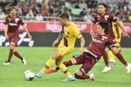 Carles Pérez, en la acción de uno de sus goles.