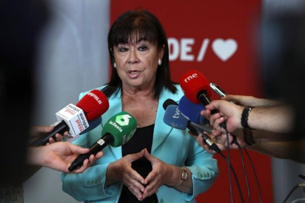 La presidenta del PSOE, Cristina Narbona, este sábado en Ferraz.