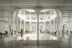 Vista interior de la rehabilitación de la sede del Banco Santander.