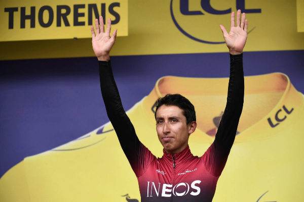 Colombia&amp;apos;s Egan <HIT>Bernal</HIT> celebrates before receiving his...