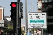 Cartel informativo de Madrid Central.