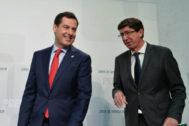 El presidente de la Junta, Juanma Moreno, y su vicepresidente y socio de gobierno, Juan Marín.