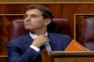 El líder de Ciudadanos, Albert Rivera, el lunes en el Congreso durante la primera jornada de la sesión de investidura.