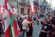 Recibimiento dedicado a Xabier Ugarte este domingo en Oñati.